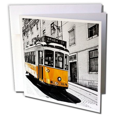3dRose Danita Delimont - Lisbon - Portugal, Lisbon. Famous Old Lisbon Cable Car 01-12 Greeting Cards with envelopes (01 Greeting Cards)