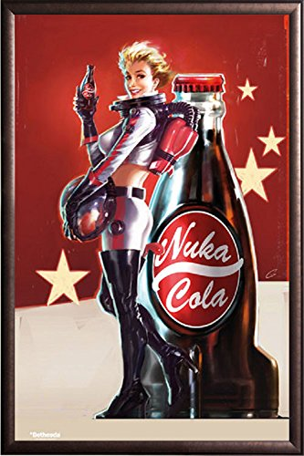 FRAMED Fallout 4- Nuka Cola Pin Up 24x36 Poster in Real Wood Premium Copper Rust Finish Crafted in USA