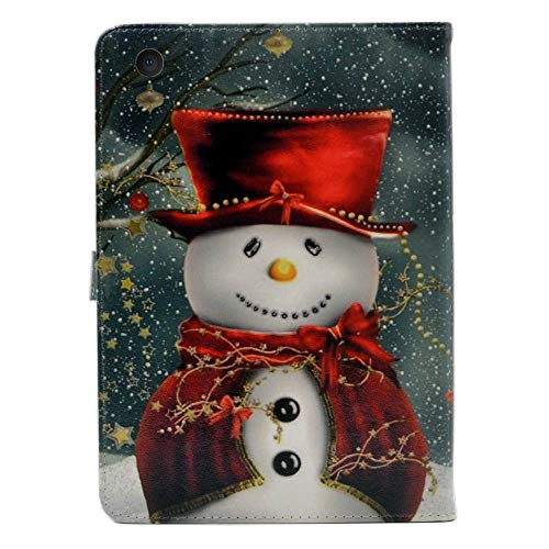 iPad Mini 5 Case 2019,Lovely Christmas Snowman with Red Scarf and Top Hat Pattern Leather Flip Stand Case Cover for Apple iPad Mini 5th Gen,iPad Mini 4 -