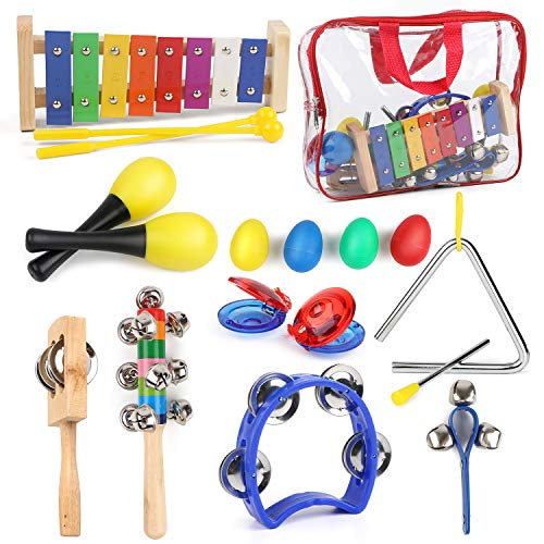 - HuoBi Percussion Musical Instruments Toy Set,12Pcs Wooden Percussion Instruments Preschool Educational Toys Bells Egg Shaker with Carry Bag ,Great Party Favors Musical Toys Set for Kids (12pcs)