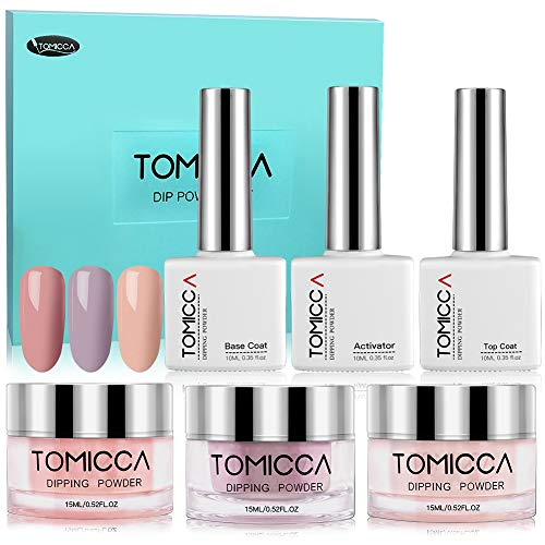 Dip Powder Nail Kit, Tomicca French Nail System Starter Kit - Get 1V1 Online Servie Qualifications - Finer Powder for Excellent Color - Easy to Apply (new/old package random delivery)