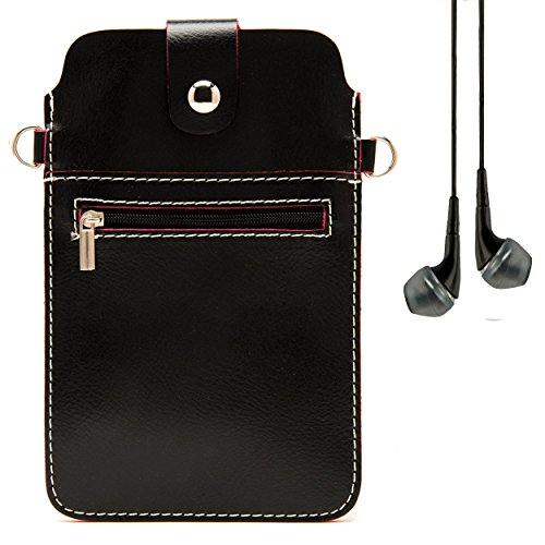 Black & Magenta Carmine Mini Leather Zippered Shoulder Carrying Case with Strap for ZTE Grand X Max+ / Imperial II / S Pro / Speed + VanGoddy Headphones