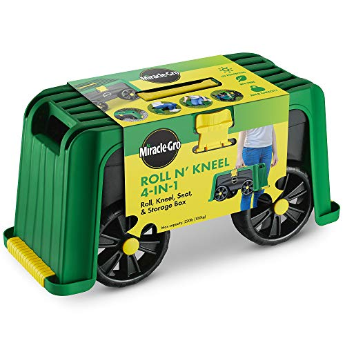 Miracle-Gro 4-in-1 Garden Stool - Multi-Use Garden Scooter with Seat - Rolling Cart with Storage Bin...