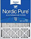 Nordic Pure 20x25x5 Honeywell Replacement AC Furnace Air Filters, MERV 12