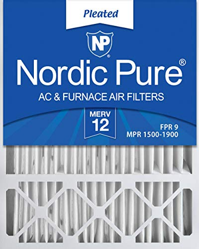 (Nordic Pure 20x25x4/20x25x5 (19 7/8 x 24 7/8 x 4 3/8) Honeywell FC100A1037 Replacement Pleated AC Furnace Air Filters MERV 12, Box of 2)