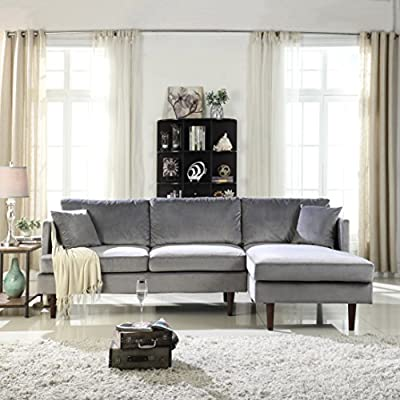 Sofamania Mid-Century Modern Brush Microfiber Sectional Sofa, L-Shape Couch with Extra Wide Chaise Lounge (Grey), Large - Family room / living room sectional sofa with an extra wide chaise lounge for maximum comfort. Ultra soft and durable brush microfiber fabric upholstery, loose back pillows for a plush look and comfort. Sits up to 4 people comfortably. Available in various fun and vibrant colors to best fit your home decor. - sofas-couches, living-room-furniture, living-room - 51H203QG3fL. SS400  -