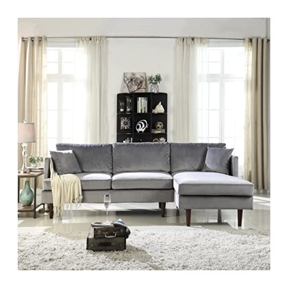 Sofamania Mid-Century Modern Brush Microfiber Sectional Sofa, L-Shape Couch with Extra Wide Chaise Lounge (Grey), Large - Family room / living room sectional sofa with an extra wide chaise lounge for maximum comfort. Ultra soft and durable brush microfiber fabric upholstery, loose back pillows for a plush look and comfort. Sits up to 4 people comfortably. Available in various fun and vibrant colors to best fit your home decor. - sofas-couches, living-room-furniture, living-room - 51H203QG3fL. SS570  -