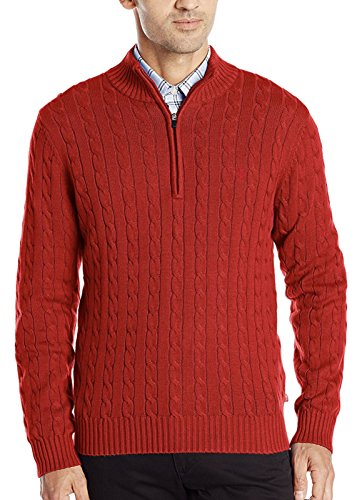 IZOD Men's Cable Knit 1/4 Zip Sweater (Large, Jester Red) (Cable Sweater Izod)