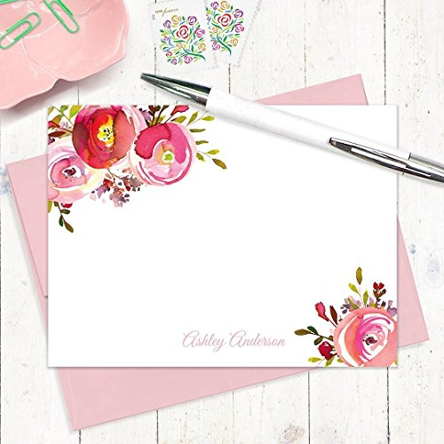 Peony Flat Card (personalized note cards - PINK PEONIES WATERCOLOR FLOWERS - set of 12 flat note cards - stationery - stationary)