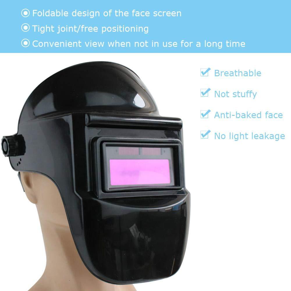 Hamkaw Masque de soudage Auto-obscurcissant avec Double Couche de Filtre Solaire r/églable Anti-/éblouissement Capot de Protection HD Lunettes de soudage avec capteur darc pour Soudure MIG TIG Arc