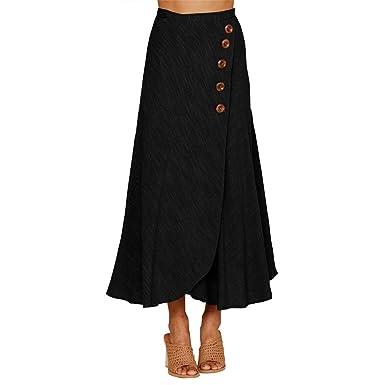 VITryst Falda de Mujer Negra Maxi y Midi Slim por Debajo de la ...