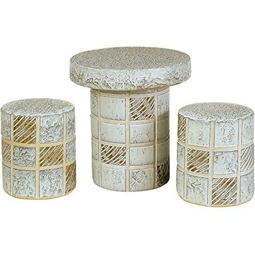 信楽焼 格子テーブルセット15号3点セット B00VNWIBAU