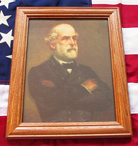 (Framed Civil War Painting on canvas, Portrait of General Robert E Lee. 1865)