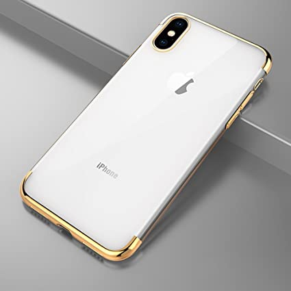 iPhone X Case, Slim Fit Clear PC Cover with Heavy Duty Protective TPU  Bumper for iPhone X  (Golden)