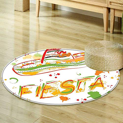 Mikihome Non Slip Round Rugs Mexican Decorations Fiesta and Sombrero Straw Hat Motifs with Watercolors Splashes Image Green Orange Decor Oriental Floor and Carpets R-35 ()