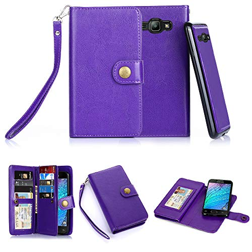 TabPow Galaxy J3 Case, 10 Card Slot - [ID Slot][Button] Wallet Folio PU Leather Case Cover with Detachable Magnetic Hard Case for Samsung Galaxy J3 (2016)/ Express Prime/Amp Prime -Purple