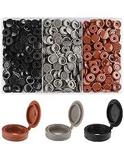 Rybtd 240 stuks scharnierende schroefdoppen 3 kleuren Plastic Scharnierende Schroef Cover Caps voor Nummer 6 en 8 Schroeven voor garderobekasten, meubels, planken, kasten