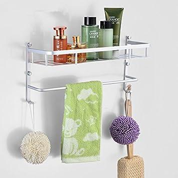 Barra de toalla de baño de almacenamiento de montaje en la pared para ahorrar espacio organizador?organizar todo el estante con toallero espacio de racks de ...