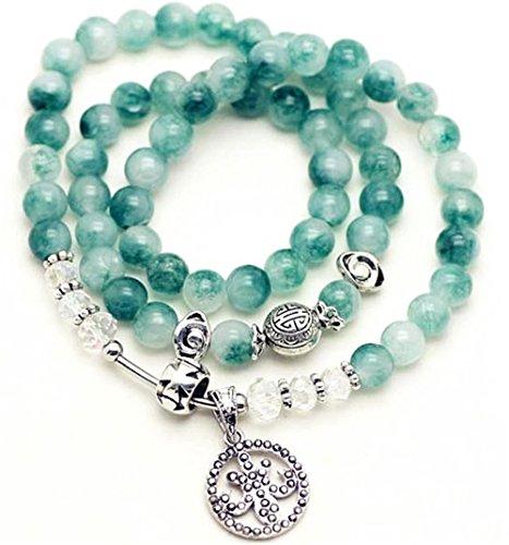(8mm Natural Gem Semi Precious Gemstone Bracelet Chrysoprase Agate Green Bracelets,Birthstone Multilayer Hand String Accessories)