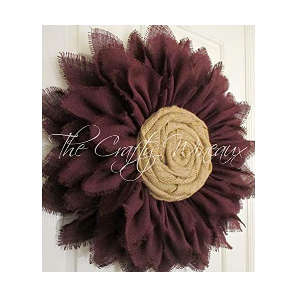 Extra Thick Burgundy Wine Red Burlap Sunflower Wreath by The Crafty WineauxTM