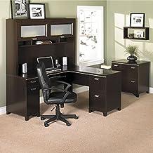 Bush Furniture Tuxedo L-Desk and Hutch, Mocha Cherry