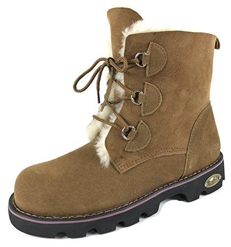 Men's Sheepskin Boots - Available in 2 Colors (9, Chestnut) (Boots Sheepskin Men)