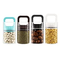 Home-organizer Tech Airtight Preservation Storage Canister, Food Saver Container Vacuum Seal Locking Lid (Coffee)
