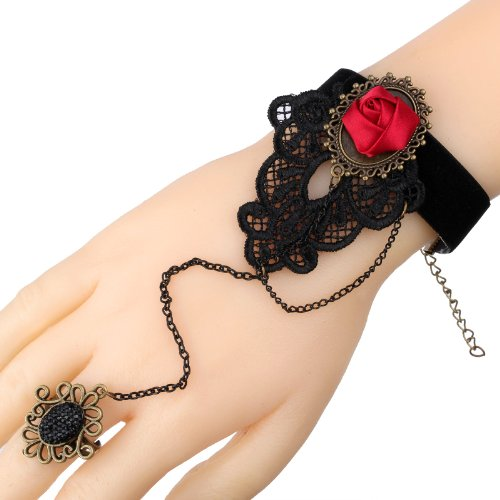 Yazilind Black Lace Slave Bracelets with Ring Lolita Sexy Red Rose Chain Metal