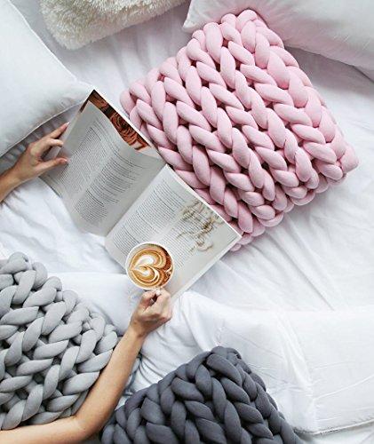 80 Meters Super Chunky Yarn Jumbo Roving Cotton Yarn Machine Washable Tube Cotton Yarn Lilac Giant Yarn DIY Chunky Blanket/Braid Rug/Cat Cave by Hand Knit Yarn (Image #2)