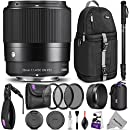 Sigma 30mm F1.4 Contemporary DC DN Lens for SONY E Mount Cameras w/Advanced Photo and Travel Bundle