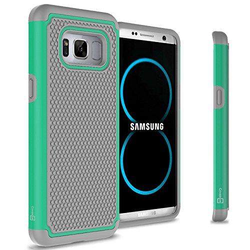 CoverON HexaGuard Series Samsung Galaxy S8 Case, Heavy Duty Hybrid Phone Cover with Basketball Grip Armor Plate – Teal on Gray
