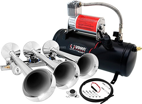 Vixen Horns Loud 149dB 3/Triple Chrome Trumpet Train Air Horn with 1.5 Gallon Tank and 150 PSI Compressor Full/Complete Onboard System/Kit VXO8530/3118