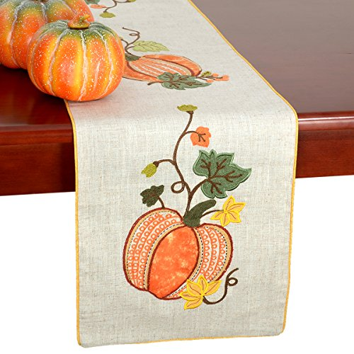 GRELUCGO Elegant Thanksgiving Holiday Table Runners, Fall Harvest Decorations, Embroidered Pumpkins, Rectangular 14×72 ()