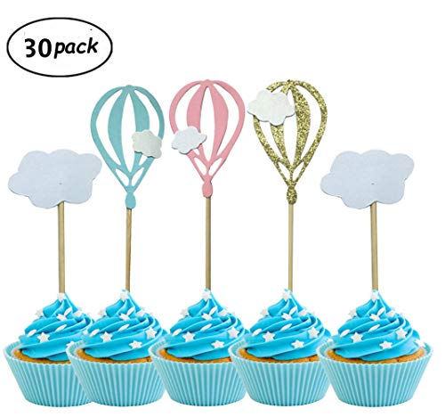 Pack of 30 Hot Air Balloon White Cloud Cupcake Toppers For Birthday Wedding Party Baby Shower -