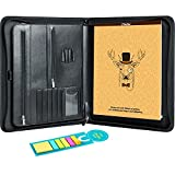 Business Padfolio Folder, Ohuhu Portfolio Organizer with Letter-size Writing Notepads and Sticky Notes, Zipper Binder for Resume, Office, Business, Interview
