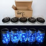 Homeleo 5-Pack Blue Solar Mason Jar Lid Insert, Solar Powered LED Mason Jars Light Up Lid(Jars NOT Included)