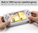 CZT 4.3 inch Dual-core 64Bit Handheld Video Game Console Build in 1300 no-Repeat Game Portable Game Console for NEOGOE\CPS\GBA\GBC\GB\SFC\FC\MD\GG\SMS MP3/4 (White)