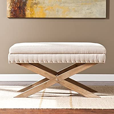 Southern Enterprises Corsica Storage Bench, Cream Blush Seat with Natural Ash Base from Southern Enterprises--DROPSHIP