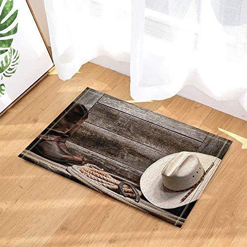 (Western Decorative Cowboy Hat Boots and Rope Retro Wood Board Bathroom Carpet Non-Slip Door Mat Floor Entrance Channel Indoor Front Door Mat Children Bathroom Mat Bathroom Accessories)