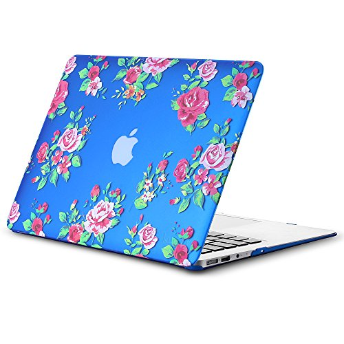 MacBook Air 13 inch Case A1466 A1369, Kuzy Rubberized Hard Cover (Older Version 2017, 2016) - VINTAGE FLOWER BLUE
