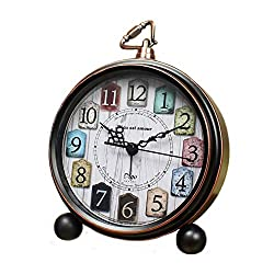 Maxspace Desk Clock, Battery Operated Retro Vintage Non-Ticking Small Alarm Clock, Quartz Movement HD Glass Silent Table Clock for Bedroom Living Room Indoor Decoration Kids (Colorful)