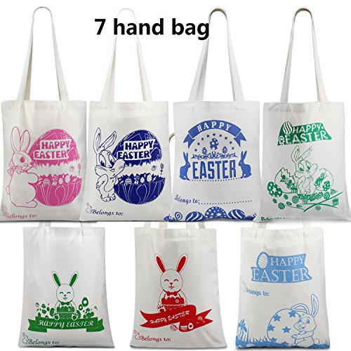 7 Bunny Bag Easter Bag Easter Egg Basket With Bunny Design Easter Egg Hunt Bag Hold Eggs/Gifts for Easter Party,Bunny Fans Bag Lunch Box Bag Carrying Toys Books Misc-Best Value 7 Pack
