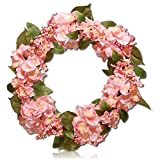 Custom & Unique (24'' Inches) 1 Single Mid-Size Decorative Holiday Wreath for Door, Made of Resin w/ Blooming Garden Spring Hydrangea Flowers, Berries, & Leaves Style (Yellow, White, Green, & Pink)