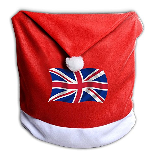 England Costume For United Nation (UK Flag WAVE Christmas Santa Hat Decor Chair Back Covers, Soft Red And White Slipcovers For Kitchen And Dining Room)