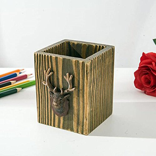 Wholesale KINGZHUO Vintage Pine Wood Lipstick Makeup Brush Comb Storage Tube Continental Storage Bucket Desktop Storage Box Pencil Pen Pot Organizer for cheap