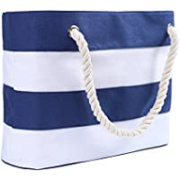 Inpluer Women's Travel Tote Beach Bag with Inner Zipper with Rope Handles