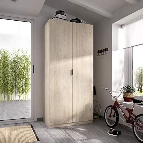 HOMEKIT Armario ropero 2 Puertas, Natural, 81x184x52 cm: Amazon.es ...