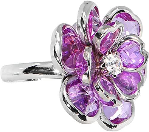 Small Purple Faceted Blooming Flower Adjustable Ring