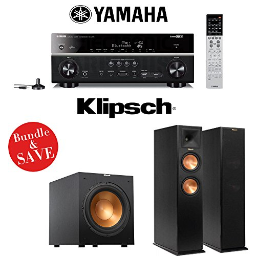 Yamaha RX-V779BL 7.2-Channel Wi-Fi Network AV Home Theater Receiver + (1) Pair of Klipsch Reference Premiere RP-260F Floorstanding Speakers + (1) Klipsch R-12SW 12-Inch 400W Powered Subwoofer - 400 Home Theater
