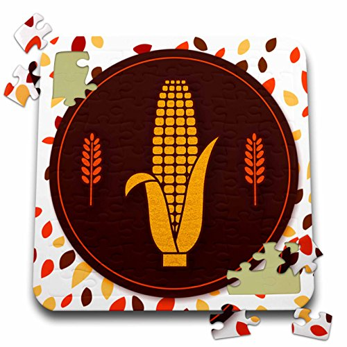 Harvest Wheat Collection (Doreen Erhardt Autumn Collection - Corn on the Cob with Wheat Accents Autumn Harvest Faux Glitter - 10x10 Inch Puzzle (pzl_264330_2))